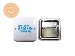 Przypinka kwadratowa 37x37mm - zapięcie na agrafkę