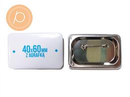 Przypinka prostokątna 40x60mm - zapięcie na agrafkę